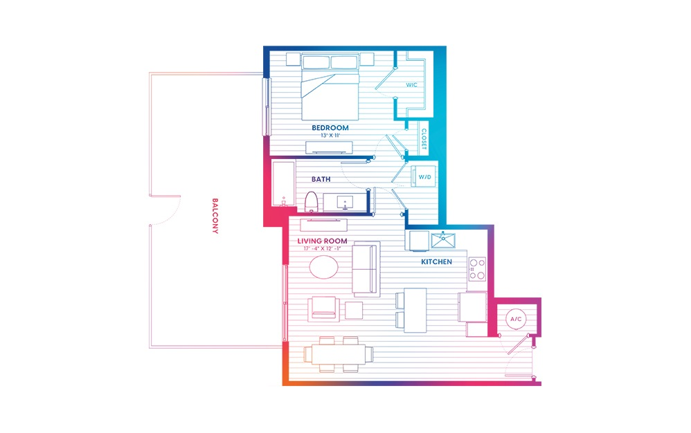 A3.1-N - 1 bedroom floorplan layout with 1 bath and 745 square feet.