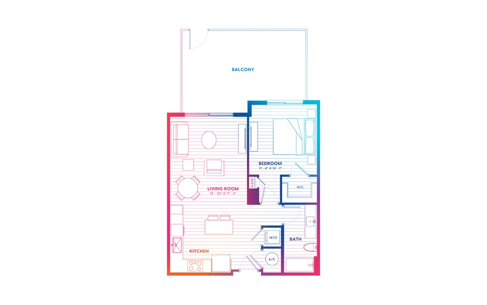 A2A.1-N - 1 bedroom floorplan layout with 1 bath and 700 square feet.