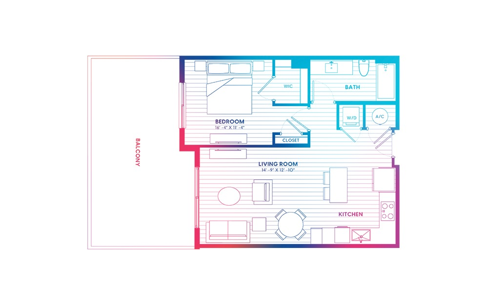 A2.1-N - 1 bedroom floorplan layout with 1 bath and 700 square feet.