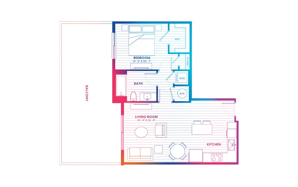 A1.1-N - 1 bedroom floorplan layout with 1 bath and 715 square feet.