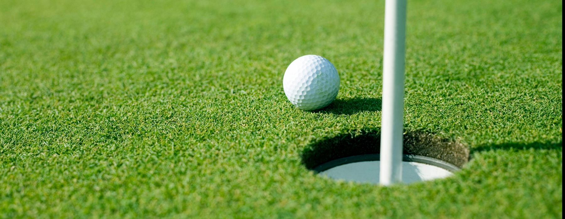 lifestyle image of green turf and a golf ball on a golf course